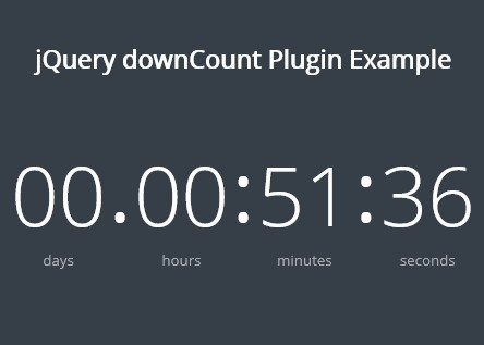 Extremely Lightweight jQuery Countdown Timer Plugin - downCount