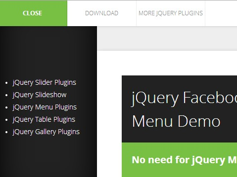 Facebook App-Style jQuery Side Mobile Menu Plugin