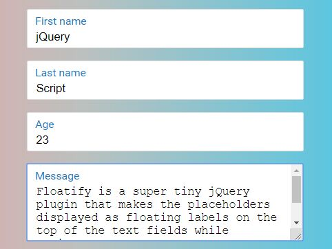 Floating Form Field Labels With jQuery And CSS3 - Floatify
