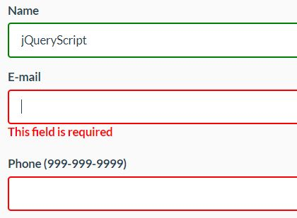 HTML5 Validity Based Form Validation Plugin - jQuery validity.js