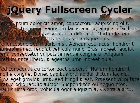 Full Screen jQuery Background Slideshow Plugin - Fullscreen Cycler