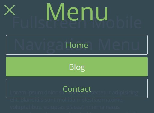 Fullscreen mobile navigation menu with jquery and css3 free jquery plugins - Jquery toggle div ...