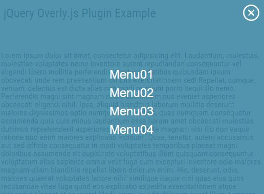 Fullscreen Slide Down Navigation Plugin With jQuery - Overly.js