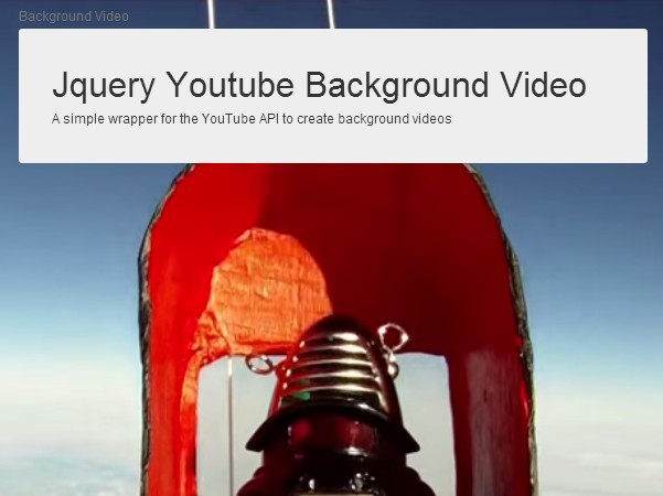 Fullscreen Youtube Video Background Plugin with jQuery