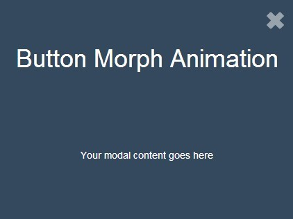 Fullscreen jQuery Modal Box with Button Morph Animation