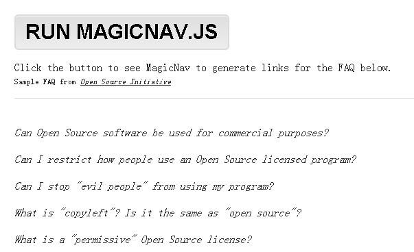 Generating Nav Links For FAQ - MagicNav