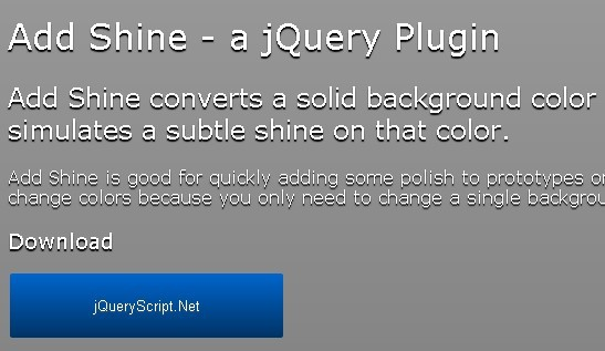 Gradient Color Background Plugin For jQuery - Add Shine