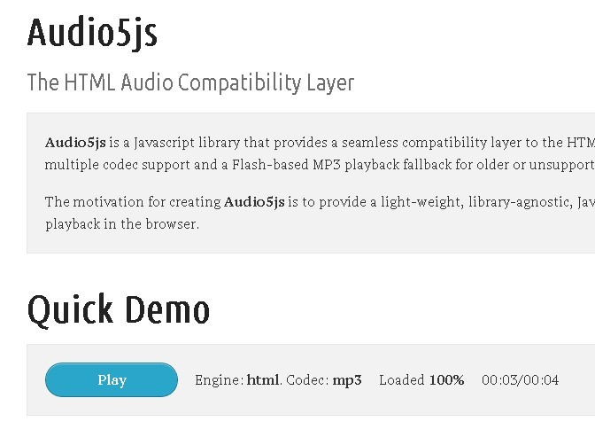 HTML5 Audio Compatibility Layer - Audio5js