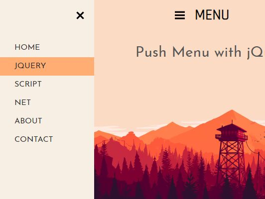 Minimalist Hamburger Push Navigation With jQuery And CSS - Swipe Menu