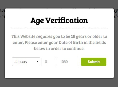 Html5 sessionStorage Based Age Verification with jQuery - Age Check