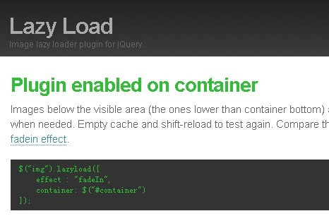Image Lazy Loader Plugin for jQuery - lazyload