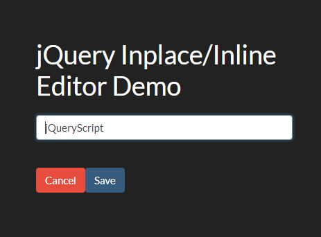 Inplace/Inline Editor With Save/Cancel Buttons - jQuery inplace.js