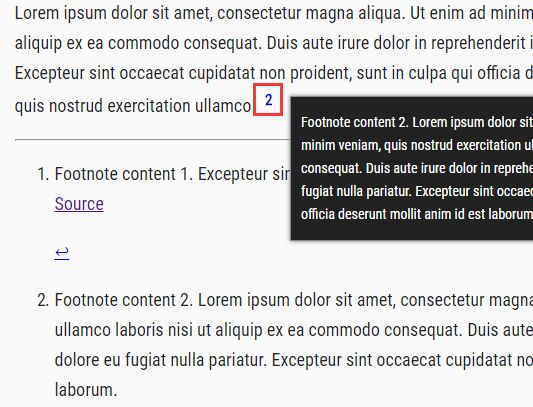 Display Citations And Explanations On Hover - jQuery Inline Footnotes