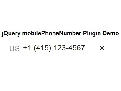International Phone Number Input Plugin with jQuery - mobilePhoneNumber
