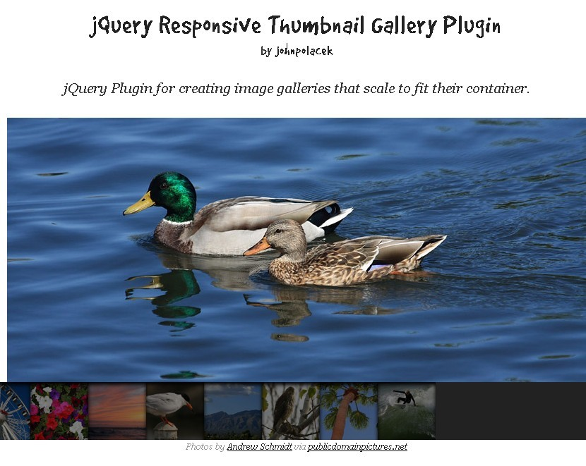 Johnpolacek Responsive Gallery Plugin with Thumbnail