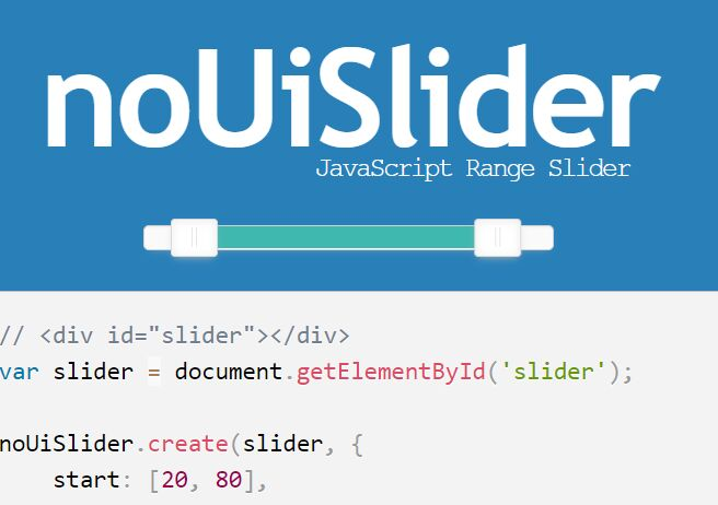 Lightweight and Customisable Range Slider Plugin -  noUiSlider