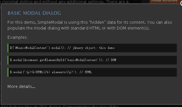 Lightweight Modal Dialog Plugin - SimpleModal