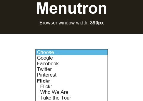 Lightweight jQuery Plugin For Responsive Navigation Menu - Menutron