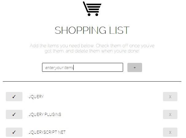 Lightweight jQuery Shopping List App