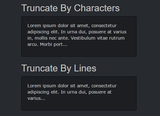 Limit Length Of Text By Lines Or Characters - jQuery ellipsis.js