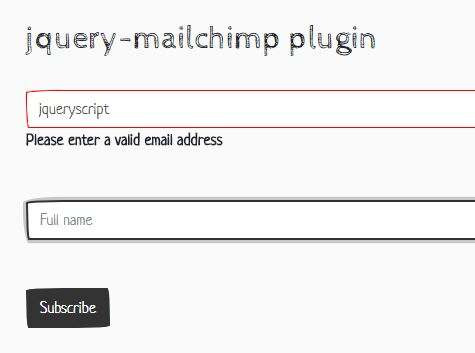 Customizable Mailchimp Signup Form With jQuery - mailchimp.js
