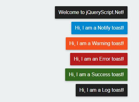 Easy Customizable Message Toaster For jQuery - Toast.js