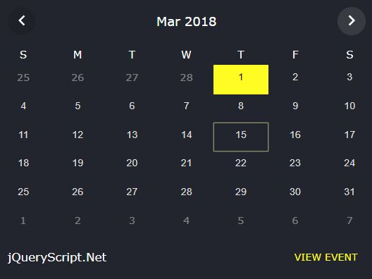 Minimal Event Calendar Plugin With jQuery - mini-event-calendar.js