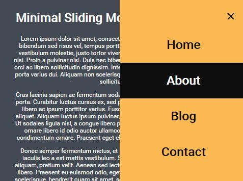 Minimal Sliding Mobile Menu With jQuery And CSS3