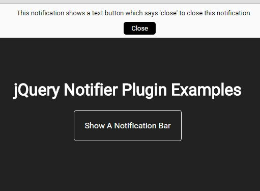 Minimal Top Notification Bar Plugin For jQuery - Notifier
