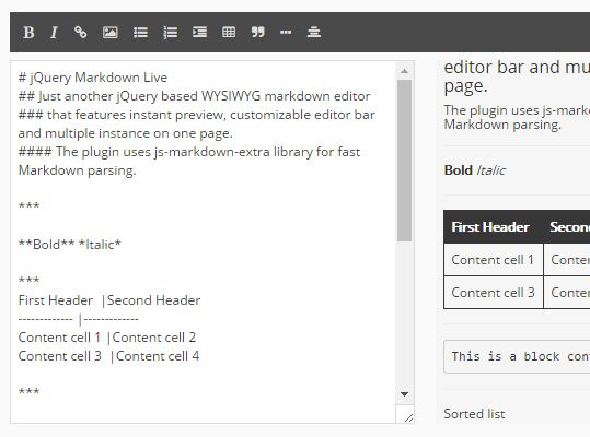 Minimal WYSIWYG Markdown Editor With Instant Preview - jQuery Markdown live