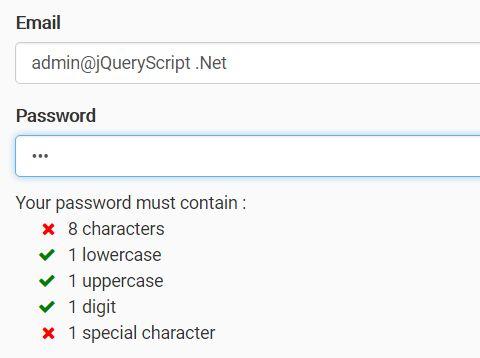 Minimal jQuery Password Strength Indicator