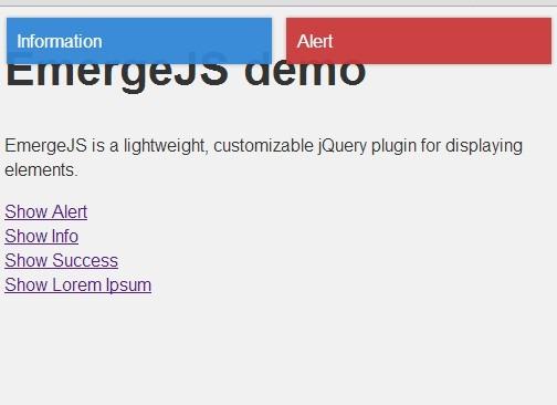 Minimal jQuery Popup Notification Plugin - emergejs