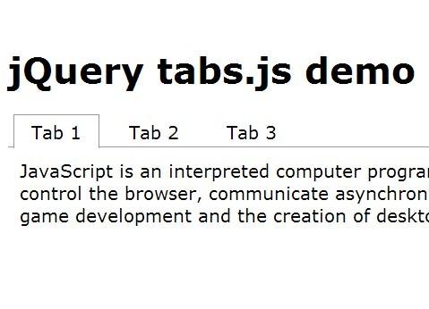 Minimal jQuery Tabs Interface Plugin - tabs.js