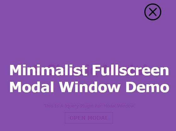 Minimalist Fullscreen Modal Window with jQuery | Free jQuery Plugins