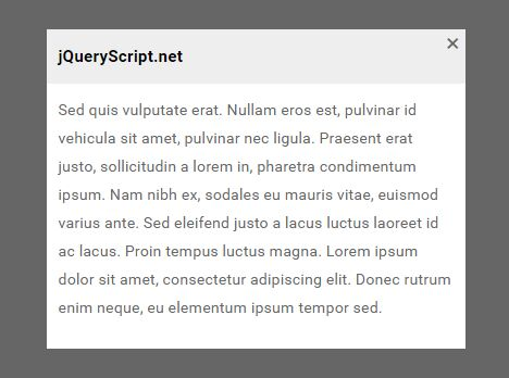 Minimal Clean Modal Popup Plugin For jQuery - DD_PushUpBox
