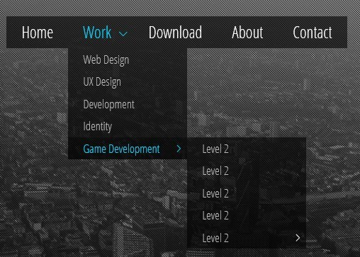 Multi-Level Drop Down Menu with Pure CSS3 - Minimal Transparent Menu