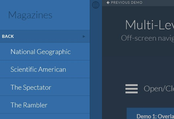 Multi-Level Slide and Push Menu with CSS3 and Javascript - MultiLevelPushMenu