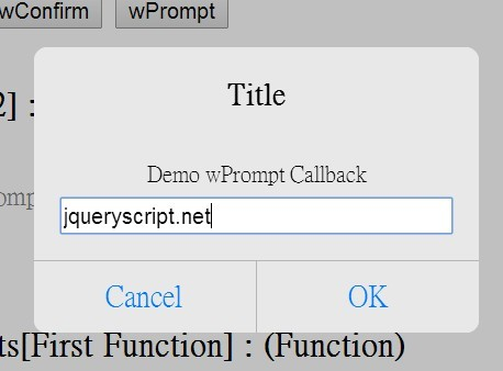 Native JS Dialog Replacement Plugin For jQuery - wAlert