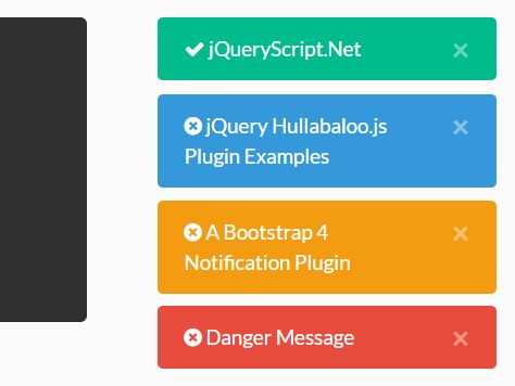 Growl-style Notification Plugin For Bootstrap 4 - Hullabaloo.js