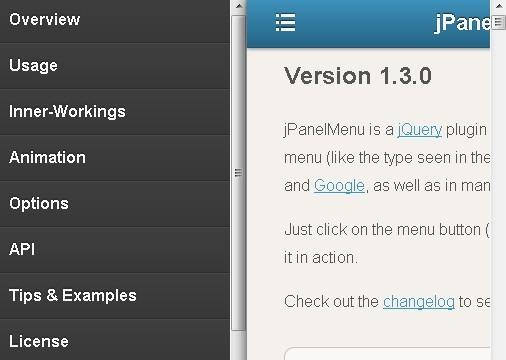 Paneled-Style Navigation Menu Plugin - jPanelMenu