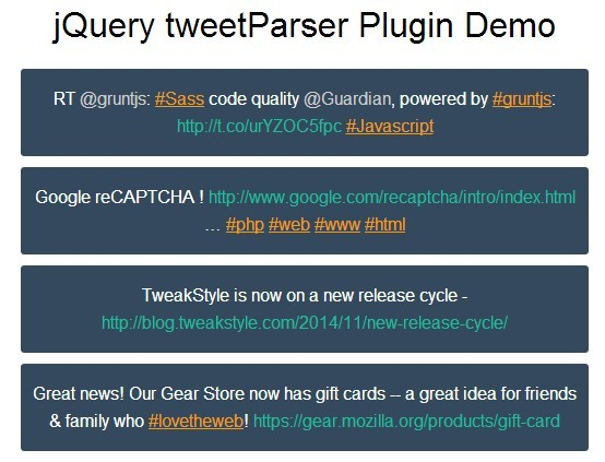 Pa<font color='red'>rse</font> Twitter Usernames, Hashtags and URLs Using jQuery