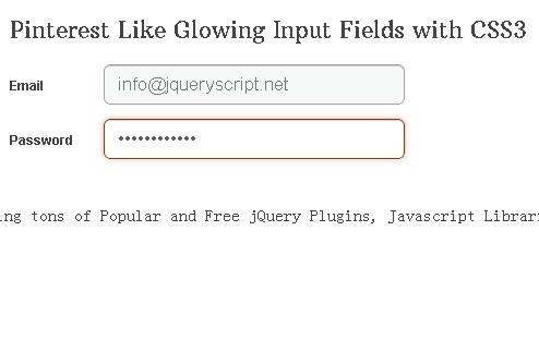Pinterest Like Glowing Input Fields with CSS3