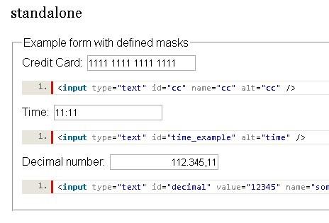 Powerful jQuery Text Input Mask Plugin - MeioMask