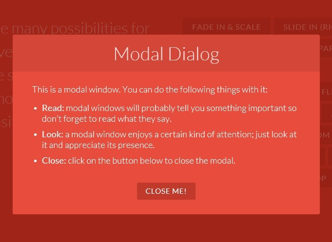 Pretty Modal Window Effects with CSS3 Transitions and Animations