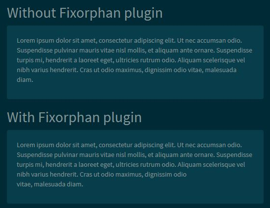 jQuery Plugin For Preventing Orphans In Text - Fixorphan.js