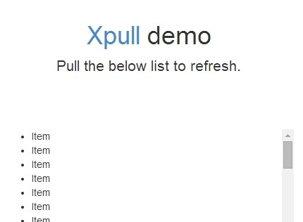 Pull to Refresh jQuery Plugin For Web - xpull