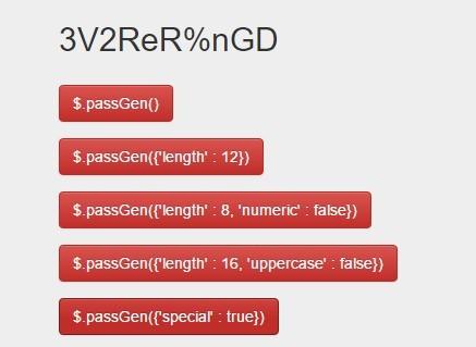 Random Secure Password Generator with jQuery - passGen