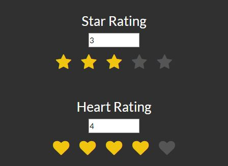 Small Rating Controls With Custom Icons - jQuery RatingStars