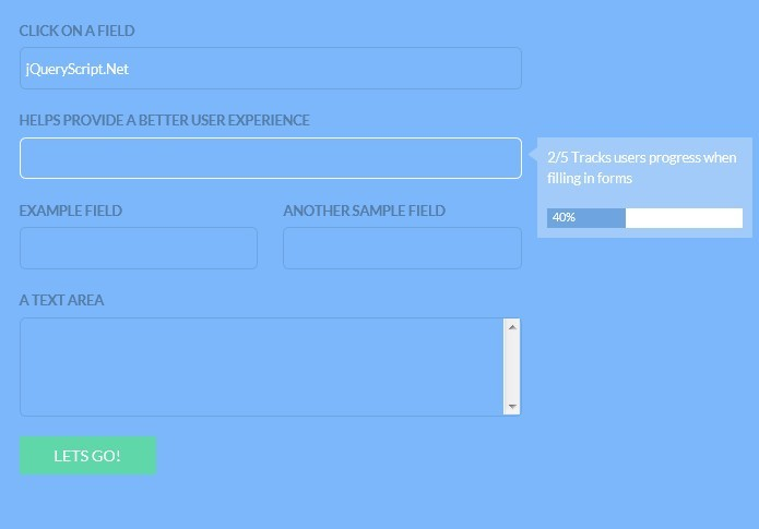 Real Time Hints & Progress For Forms - jQuery Progression