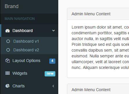 Responsive Admin Sidebar Menu Plugin With Jquery Sidebar